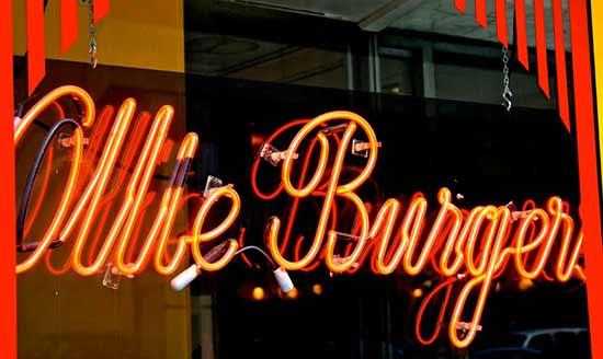 Ollie Burger storefront sign